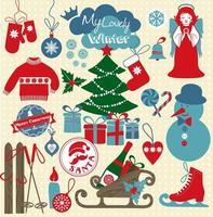 kerst pictogramserie. retro stijl van schattige pictogrammen.