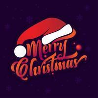 merry Christmas-tekst met kerstmuts vector