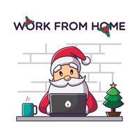 Kerstman die op laptop werkt vector