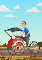 Trishaw rijden vector