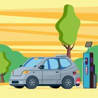 Elektrische auto die buiten bij het Bijtanken van Krachtcentraleillustratie laden vector