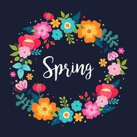Bloemen lente krans vector