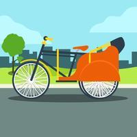 Trishaw op straat vector