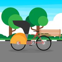 Trishaw Azië traditionele transport illustratie vector