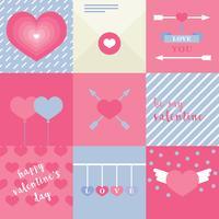 Rozeachtige platte mooie Valentine-kaarten vector