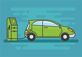 Gratis elektrische auto opladen vectorillustratie