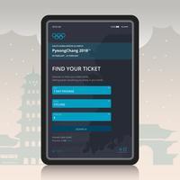Winterspelen Korea Illustratie. PyeongChang 2018 E-Ticket Concept. Mobiele applicatie.