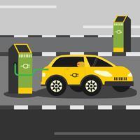 Opladen via de elektrische auto vector