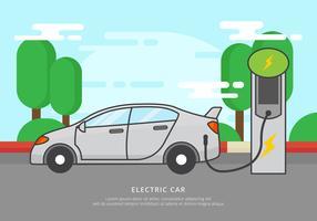Gratis elektrische auto opladen vectorillustratie vector