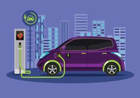 Opladen via de elektrische auto. Vector platte ontwerp illustratie