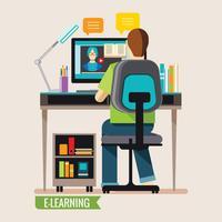 Online onderwijs, online leren op afstand vector