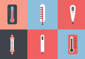 Platte en kleurrijke thermometer set vector