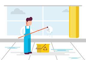 Mannelijk professioneel schoonmaakpersoneel vector
