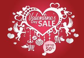 Valentijnsdag verkoop, Poster sjabloon vectorillustratie