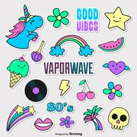 vaporwave funky mode doodle vector stickers