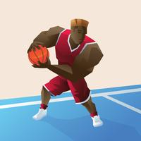 Overdreven basketbalspeler vector