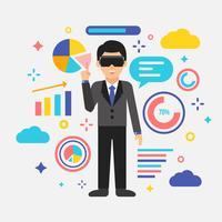 Zakenman die de Virtuele Vector van de Werkelijkheid speelt