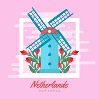 Nederlands tulpenfestival vector