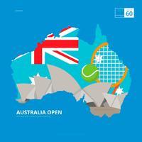 Australische tennis kampioenschap en Australische kaart illustratie vector