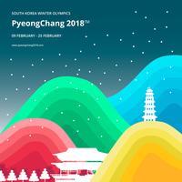 Winterspelen Korea Illustratie. PyeongChang 2018 Tagline Concept.