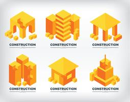 Isometrische bouw logo's