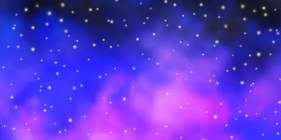 lichtroze, blauwe vectorlay-out met heldere sterren. vector