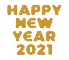 gouden stijlvolle wenskaart vectorillustratie geïsoleerd op wit. gelukkig nieuwjaar 2020. trendy geometrisch lettertype. vector