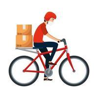 fietskoerier met gezichtsmasker vector