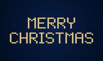 gouden merry christmas vector blok typografie. vakantie wenskaart illustratie. geometrische kerstaffiches zoals elektronisch scorebord.