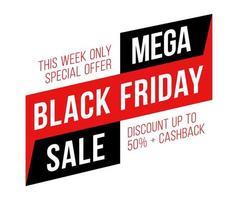 verkoop poster zwarte vrijdag verkoop. zwarte vrijdagverkoop met korting van 50 procent. commerciële banner voor kortingsevenementen. vector
