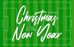 kerst en nieuwjaar voetbalveld wenskaart met belettering. creatieve tennisveldachtergrond voor kerstmis en nieuwjaarsviering. sport wenskaart