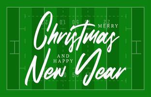 kerst en nieuwjaar amerikaanse voetbalveld wenskaart met belettering. creatieve rugbyveldachtergrond voor kerstmis en nieuwjaarsviering. sport wenskaart