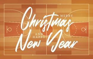 kerst en nieuwjaar basketbalveld wenskaart met belettering. creatieve basketbalveldachtergrond voor kerstmis en nieuwjaarsviering. sport wenskaart