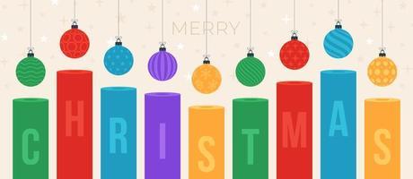 kerst kaars en bal. vakantie concept vectorillustratie met platte cartoon sierlijke kleurrijke kerstballen op witte achtergrond. vector