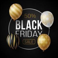 luxe zwarte vrijdag verkoop poster met glanzende ballonnen op zwarte achtergrond met glazen cirkelframe. vector illustratie.