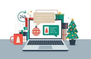 kerst chatten op laptop. chatberichten op computer online vectorillustratie, platte cartoon werkruimte of bureau laptop pc met chat bubbelmeldingen vector