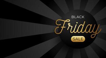 zwarte vrijdag verkoop horizontale banner met zwarte cirkel en gouden tekst op donkere achtergrond. vector illustratie
