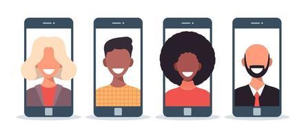 vrienden chatten online platte vectorillustratie. familieleden die smartphones gebruiken, mobiele telefoons voor videoconferenties, bellen. jongens, meisjes op telefoonscherm, display. mobiele communicatie-app