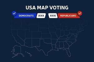 VS presidentsverkiezingen resultaten kaart. USA kaart stemmen. presidentsverkiezingen kaart elke staat amerikaanse electorale stemmen met republikeinen of democraten politieke vector infographic