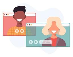 illustratie van twee gelukkige mensen praten via video-oproep. lachende mannen en vrouwen werken en communiceren op afstand. teamvergadering vectorillustratie in plat ontwerp