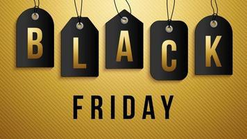 zwarte vrijdagverkoop op donker prijskaartje. vectorreeks realistische geïsoleerde lege prijskaartjecoupons voor zwarte vrijdagverkoop voor decoratie en bekleding op de gouden achtergrond.