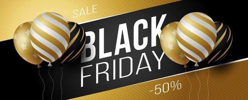 zwarte vrijdag verkoop horizontale banner met zwarte, witte en gouden glanzende ballonnen op zwarte en gouden achtergrond met plaats voor tekst. vector illustratie.