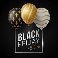 zwarte vrijdag verkoop poster met glanzende luxe ballonnen op zwarte achtergrond met vierkante glazen frame. vector illustratie.