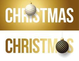 luxe trendy gouden typografie Kerstmis op een achtergrond met kerstbal. typografie met realistisch 3D-boomspeelgoed voor het ontwerpen van flyers, brochures, folders, posters en kaarten vector