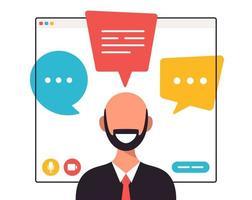 zakenman chatten tijdens videogesprek