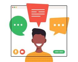 Afrikaanse student chatten tijdens videogesprek vector
