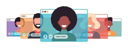 Afrikaanse zakenvrouw chatten tijdens videogesprek zakenvrouw met chat bubble toespraak in computer venster communicatie online conferentie concept portret horizontale cartoon platte vector illustratie