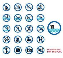 zwembad regels pictogramserie vector