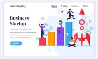 bestemmingspagina ontwerpconcept van opstarten van bedrijven. zakenman rent naar raket en ga naar hun doel. platte vectorillustratie