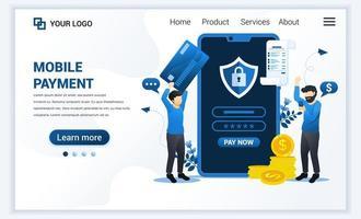 vectorillustratie van mobiel betalen of geldoverdrachtconcept met mannen die betalingstransactie uitvoeren. moderne platte web bestemmingspagina sjabloonontwerp voor website en mobiele website. platte cartoon stijl